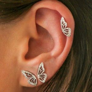 Jewelry - Butterfly wing crystal earrings